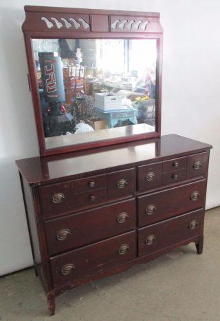 Vintage Circa 1955 Dark Cherry Finished Dresser & Mirror 6 Drawers 48x35x17 photo