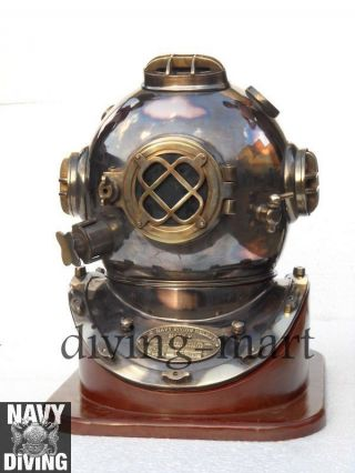 Boston Mass U.  S Navy Mark V Solid Copper Divers Helmet With Rosewood Base photo