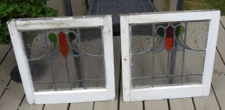 Antique English Arts Crafts Leaded Stained Glass Windows 19.  5 X 19 7/8