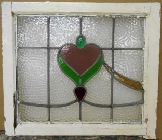 Mid Sized Old English Leaded Stained Glass Window Pretty Heart & Swag 23