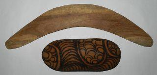 Aboriginal : Small Mulgawood Boomerang & Decorated Coolamon photo