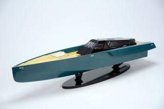 118 Wally Power Luxury Motor Yacht - Handmade Wooden Racing Boat Model photo