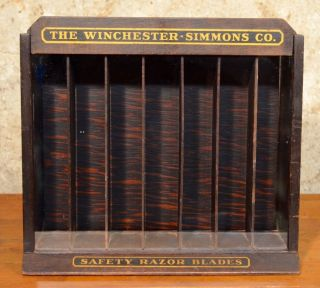 Antique Winchester Simmons Razor Blade General Store Display Case 1920s Showcase photo