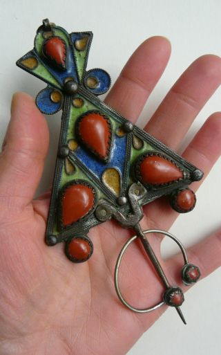 Vintage Berber Brooch,  Large Penannular Brooch/pin - Enamelled - Fantastic Piece. photo