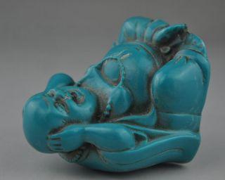 Chinese Buddhism Artificial Turquoise Happy Laugh Wealth Maitreya Buddha Statue photo