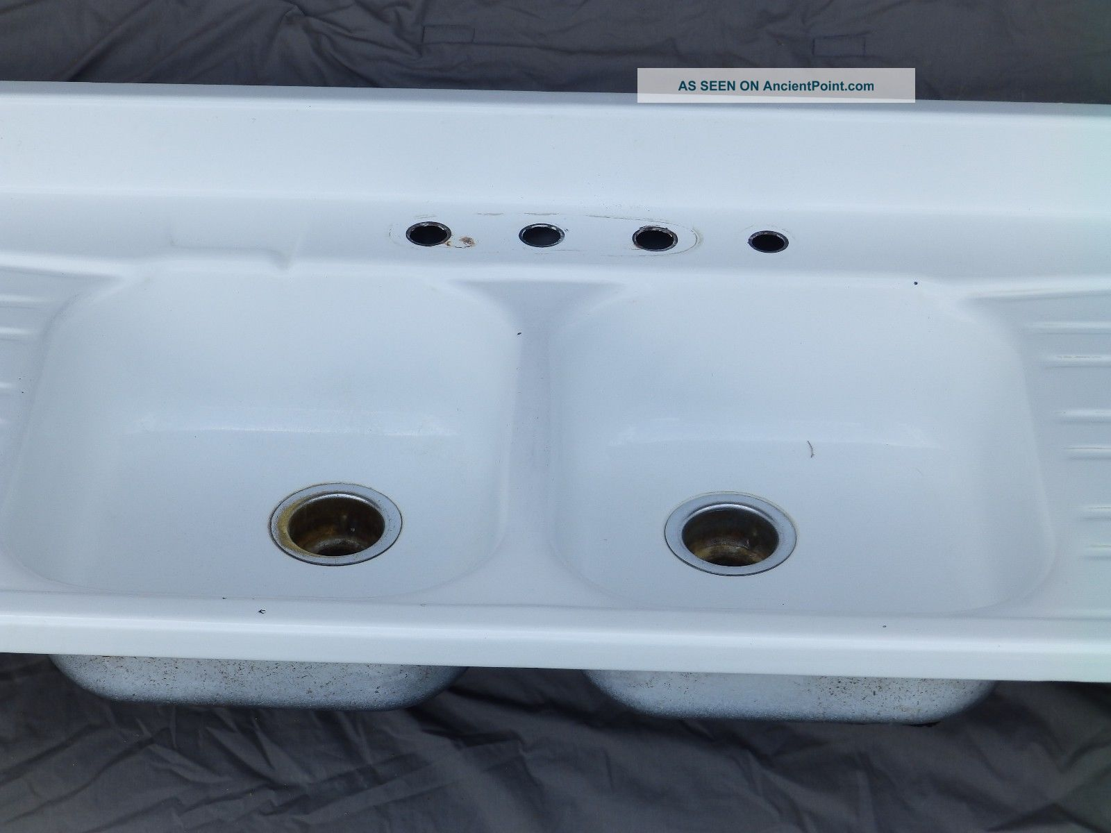 Vintage Steel White Porcelain Double Basin Drainboard Old Kitchen Sink 1040 16
