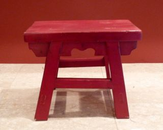 Vintage Red Chinese Wooden Footstool photo