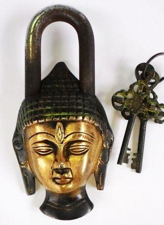 Antique Buddhism Bronze Sakyamuni Buddha Head Brass Lock - Up Key Rare Shakyamuni photo