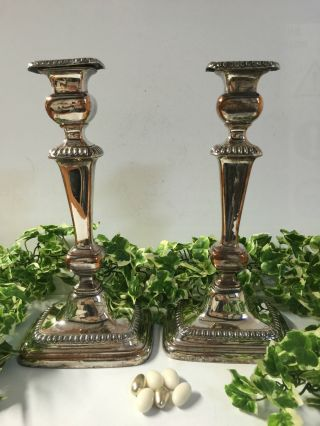 Silver Plated Candlesticks Circa 1900 photo