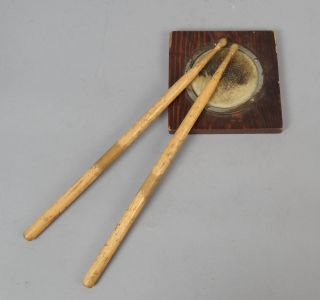 Fun Vintage Early 20th Century Pair Drumsticks W Oak Leather Practicing Pad photo