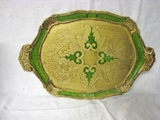 Vtg Italian Florentine Green Gilt Oval Toleware Vanity Tray Serving Handles photo