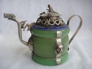 Chinese Handwork Old Green Jade Bracelet Inlay Tibet - Silver Dragon Teapot photo