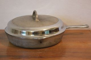 Chrome Griswold 1930 ' S Large Block Logo No.  8 Cast Iron Skillet W/ Basting Cover photo