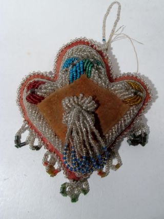 Antique Iroquois Indian Beaded Souvenir Pillow Pin Cushion Whimsey photo