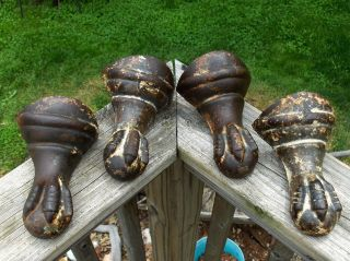 4 Matching Victorian Ball & Eagle Claw Foot Stove/bathtub Cast Iron Antique Feet photo