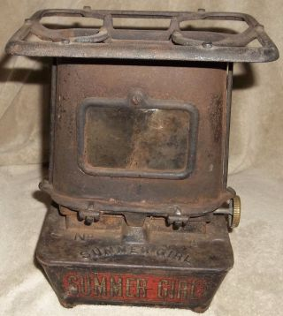 Antique Late 1800s Taylor&boggis Fdy.  Summer Girl 1 Cast Iron Heater Stove Rare photo