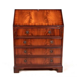 Writing Bureau Inlaid Mahogany Bureau Antique Victorian Style photo