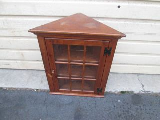 56471 Ethan Allen Corner Pine Curio What Not Wall Shelf photo