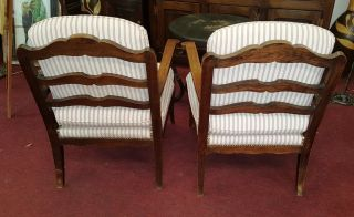 Antique French Provincial Chairs Comfy Cushions Wood Arms & Back Exl photo