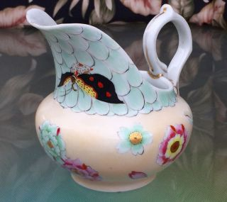 Fine Japan Porcelain Early Tashiro Kutani Cream Pitcher Hand Painted/signed photo