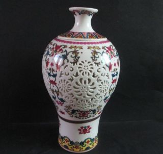 Chinese Hand Hollow Ceramic Double Layer Two Red Vase photo