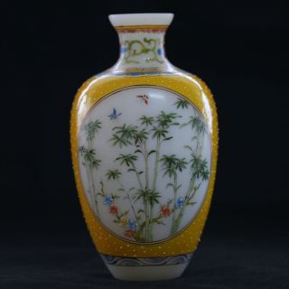 Old Beijing Coloured Glaze Hand - Painted Birdflower Vase W Qianlong Mark photo