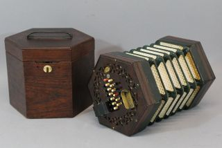 Antique 19thc English 48 - Button Ac Wheatstone Rosewood Concertina & Case Nr photo