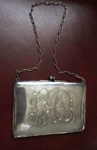 Antique Hallmarked Sterling Silver Compact,  Coin Purse - Mono 219 Grams photo