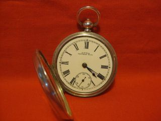 Antique Solid Silver Hallmarks Pocket Watch 1892 Walthan Mass. photo