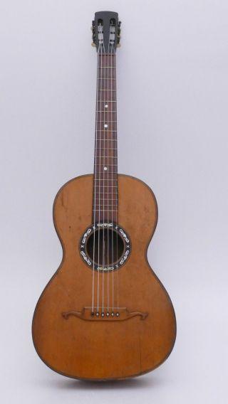 Very Rare Old Historical Art Nouveau Antique Old Parlour Parlor German Guitar photo