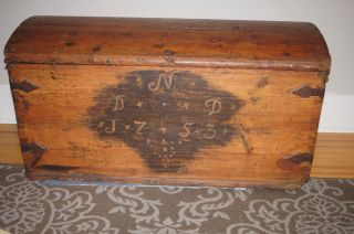 Early Moravian Primitive Trunk 18th Century Iron Handles Paint Decorated 1753 photo
