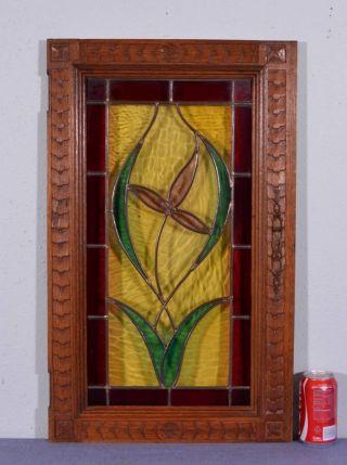 French Antique Art Nouveau Flower Stained Leaded Glass Oak Wood Door Panel (k) photo