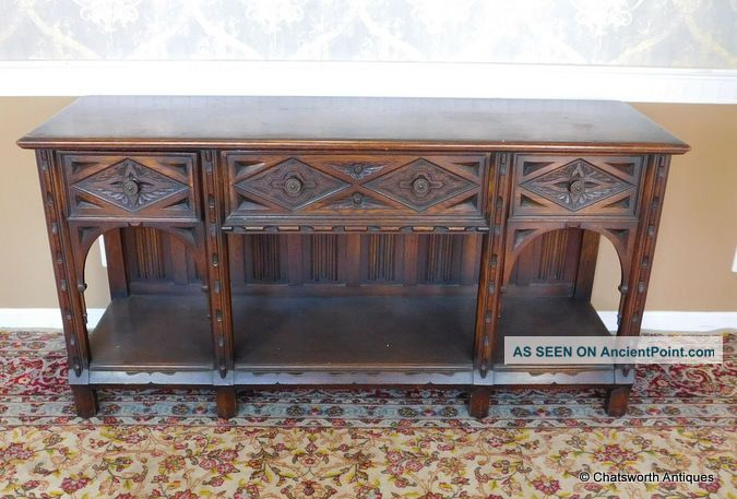 Early 20th Century English Oak Jacobean Hathaway Furniture Dining Room Sideboard 1900-1950 photo