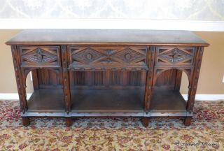 Early 20th Century English Oak Jacobean Hathaway Furniture Dining Room Sideboard photo