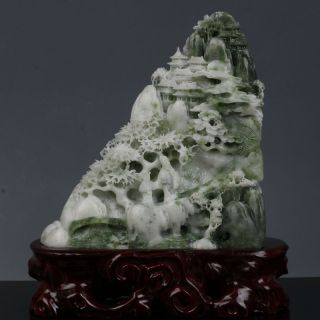 China Natural Dushan Jade Dragon Loong Feng Shui Animal Ruyi Buddha Hand Statue Antiquities Chinese