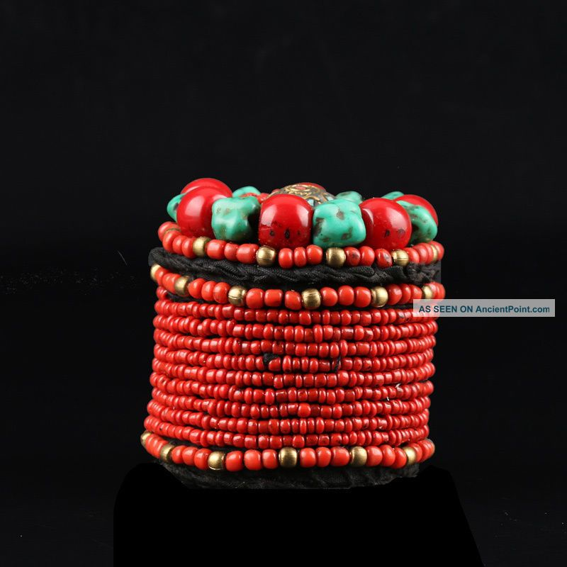 Collectibles Decorated Handwork Tibet Red Coral & Turquoise Jewelry Box Csy65 Boxes photo
