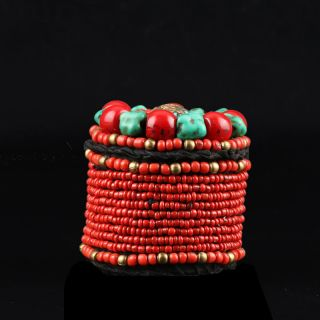 Collectibles Decorated Handwork Tibet Red Coral & Turquoise Jewelry Box Csy65 photo