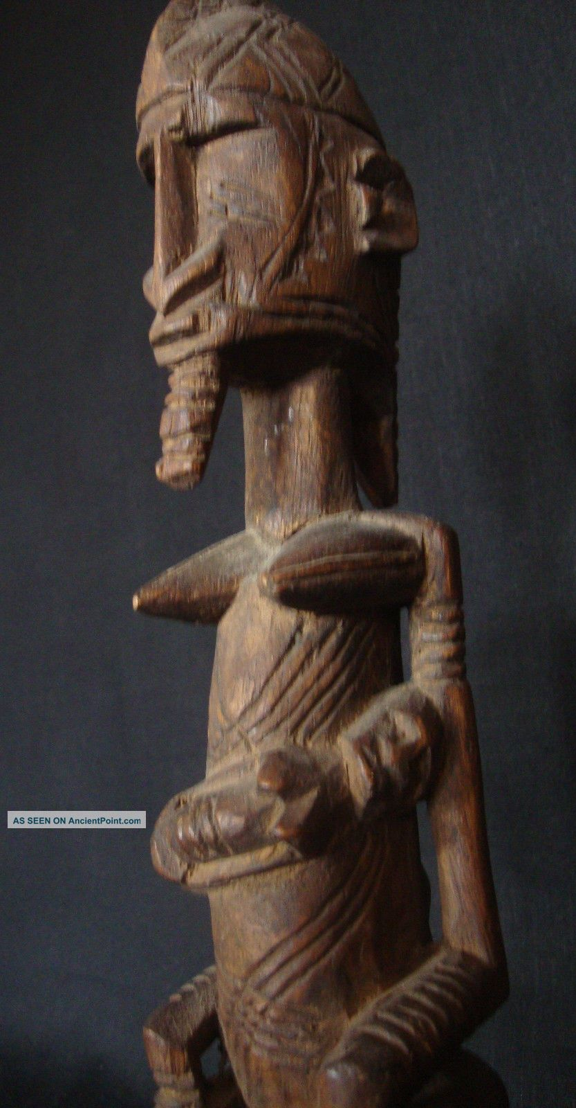 Exquisite Dogon Maternity Statue: Mother & Two Children Trad Mali Fertility Cult Sculptures & Statues photo
