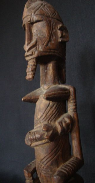 Exquisite Dogon Maternity Statue: Mother & Two Children Trad Mali Fertility Cult photo