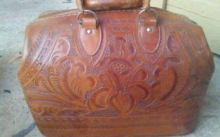 Vintage Best Velva Hide Medical Doctor Brown Bag Stamped Leather Antique photo