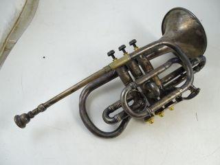Antique German Silver Cornet Woodwind Horn Instrument Rudolf Sander Vintage 1800 photo