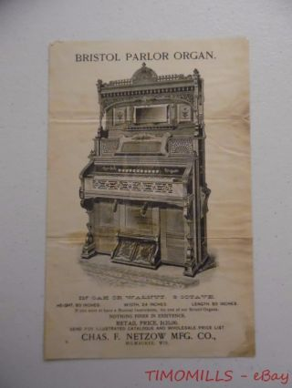 C.  1890s Chas F Netzow Mfg Co.  Bristol Parlor Organ Advertising Broadside Leaflet photo