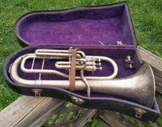 1919 The Beuscher Silver True Tone Antique E Flat Alto Horn - In Orig.  Road Case photo