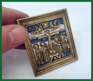 Russia Orthodox Bronze Icon The Crucifixion.  19th Century.  Enameled. photo