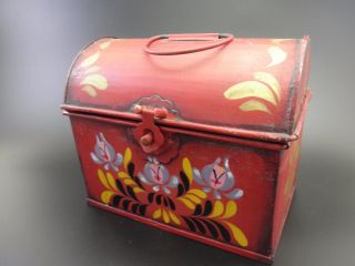 Tole Ware Metal Red Box W Lid & Latch Recipe Trinket Hand Painted Floral photo
