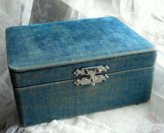Antique Victorian Vintage Teal Velvet Sewing Jewelry Box Lace Bobbin Holders photo