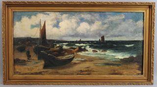 1896 Antique Charles Macinnis Coastal Seascape Fishing Boat Oil Painting Nr photo