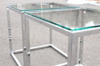 Mid Century Modern Pair Chrome Glass End Side Coffee Tables photo