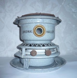 Old German Enamelware Graniteware Table Top Stove 2 Wck Kerosene Haller photo