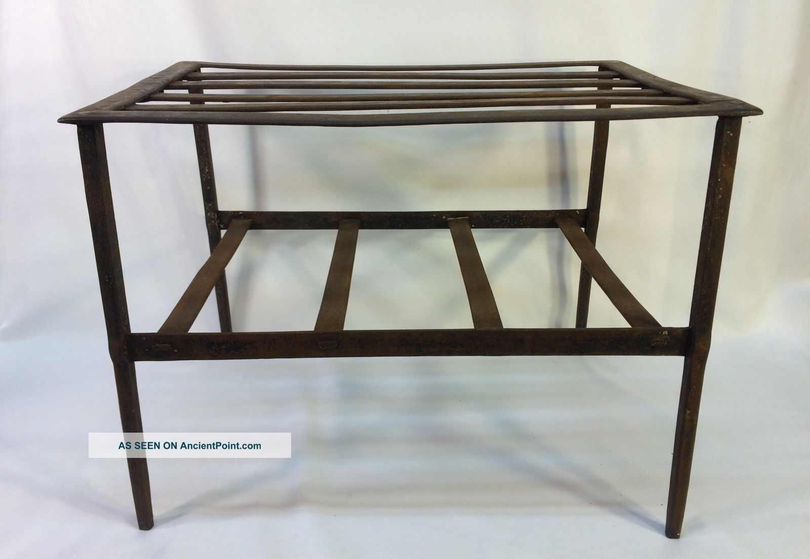 Antique Early 19th C Hand Forged Iron Fireplace Cooking Pot Trivet Stand Table Hearth Ware photo